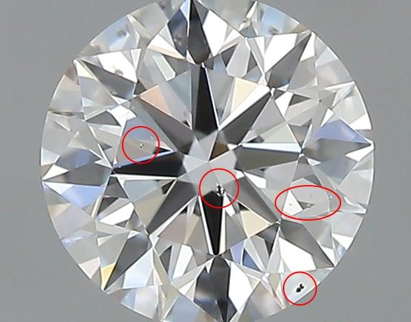 SI1クラリティのダイヤモンド拡大画像