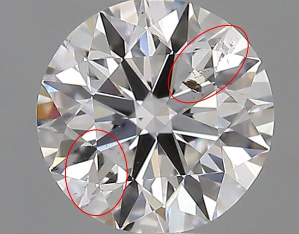 SI2クラリティのダイヤモンド拡大画像