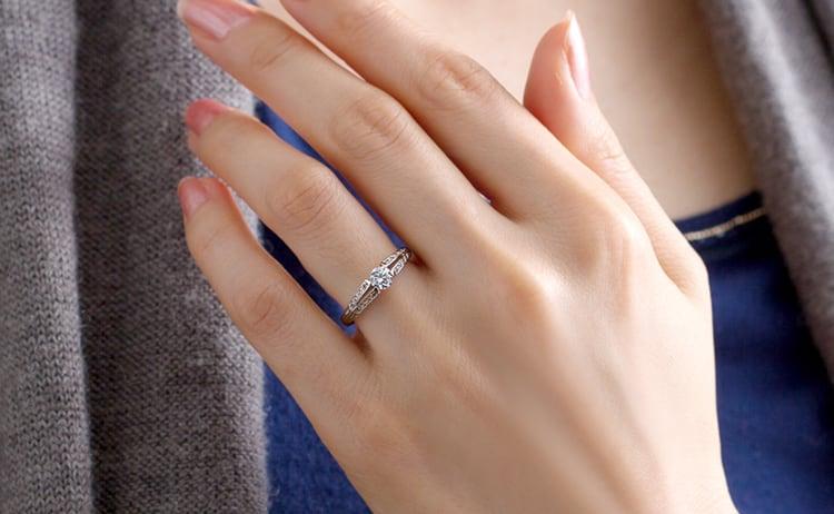 PT900 ラヴィーン ダイヤモンド サイドストーン リング 0.3ct