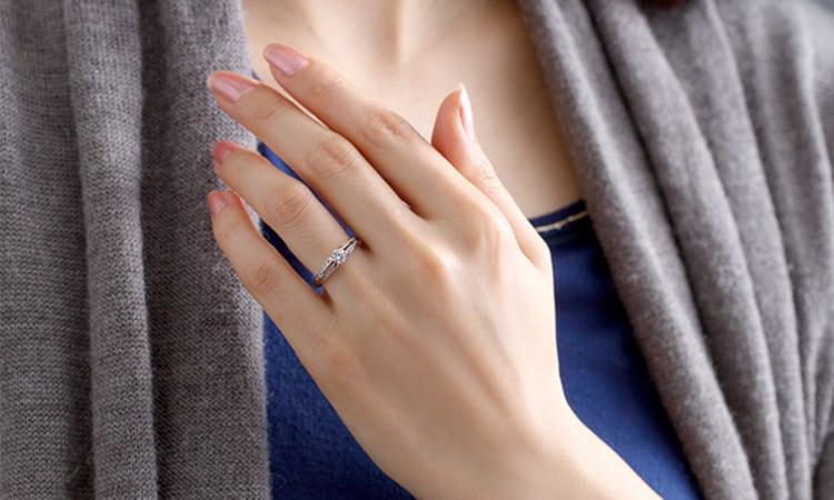PT900 ラヴィーン ダイヤモンド サイドストーン リングfor 0.3ct