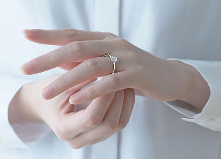 婚約指輪をはめている人