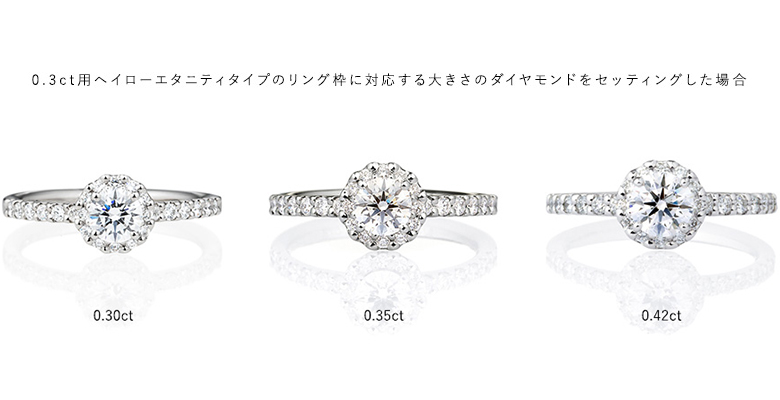 0.3ct用ヘイローエタニティタイプのリング枠に対応する大きさのダイヤモンドをセッティングした場合
