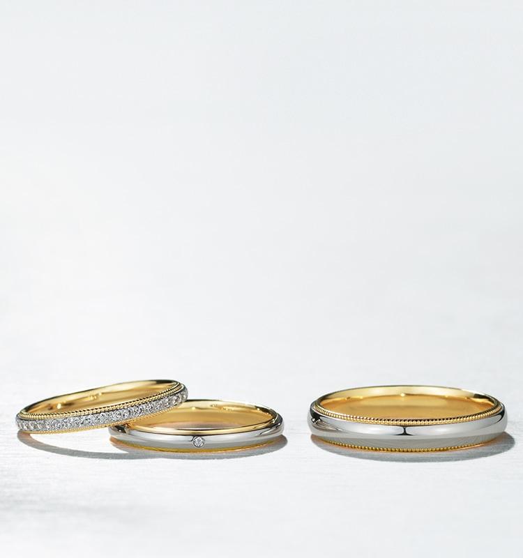 結婚指輪・ハーフエタニティリング コンビネーションリング