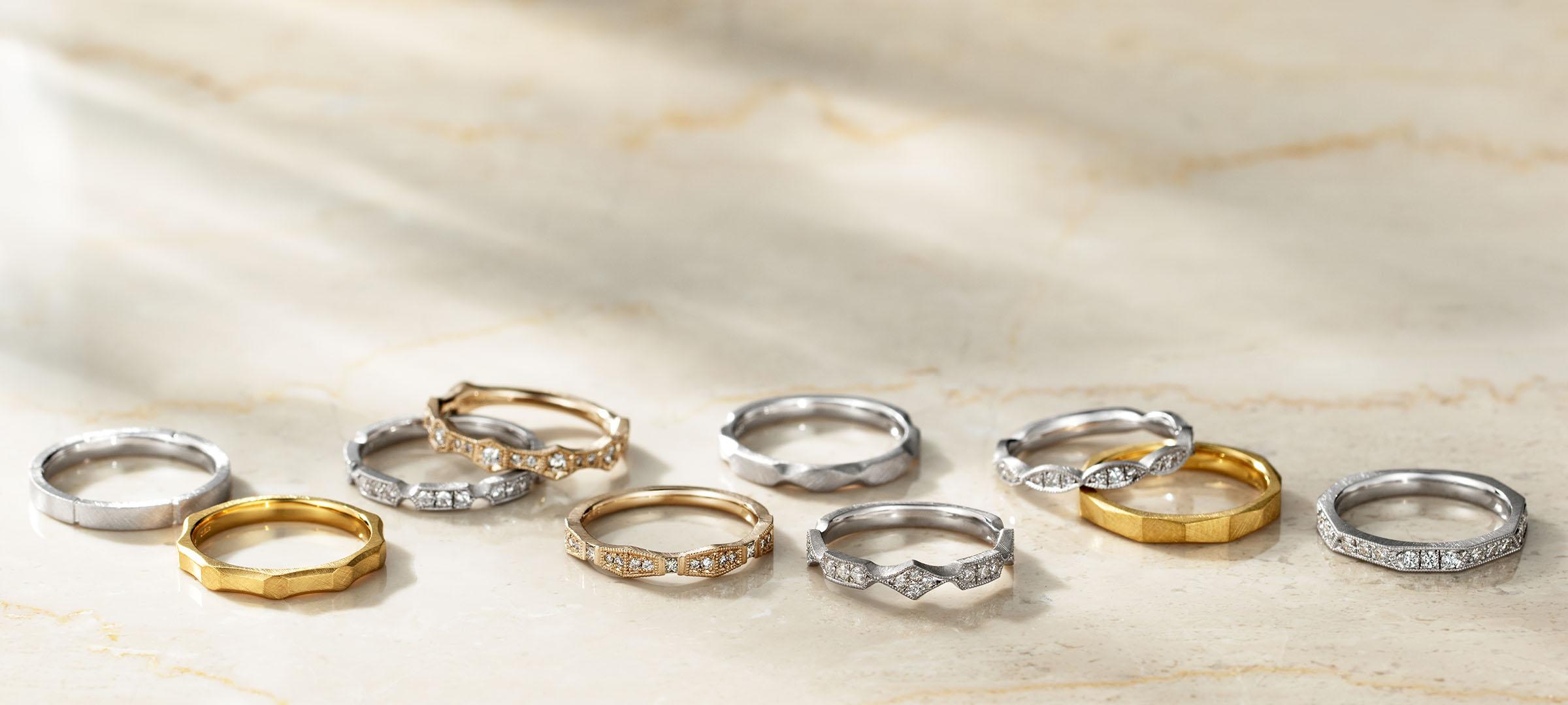 結婚指輪 ファイン グレイン エタニティ & マリッジリング