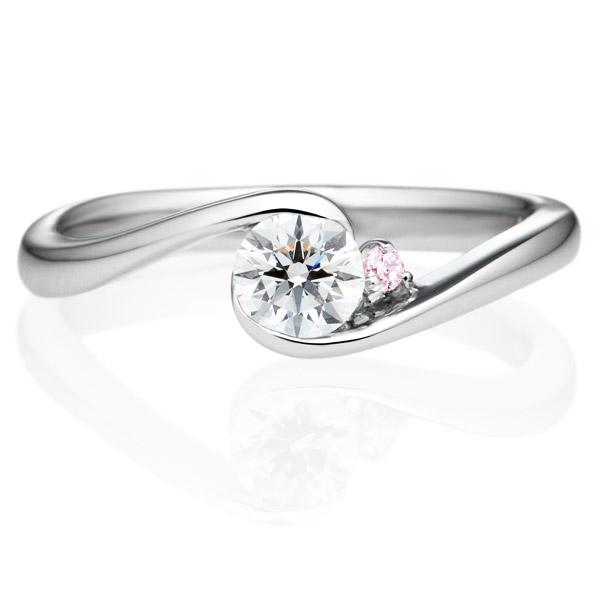 PT900 ピルエット ダイヤモンド ピンクダイヤモンド サイドストーン リング 0.3ct