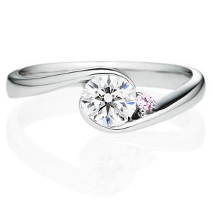 K18WG ウェーブライン サイドストーン ピンクダイヤモンドリング for 0.5ct