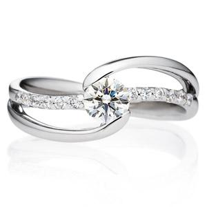 PT900  ウェーブライン エタニティータイプ ダイヤモンドリング for 0.3ct