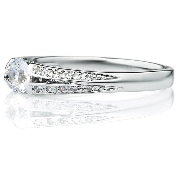 PT950 ラヴィーン ダイヤモンド サイドストーン リング 0.3ct