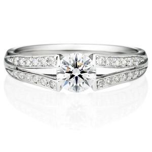PT950 ラヴィーン ダイヤモンド サイドストーン リング 0.5ct