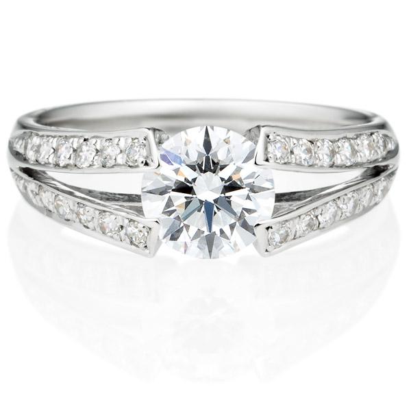 PT950 ラヴィーン ダイヤモンド サイドストーン リング 1.0ct