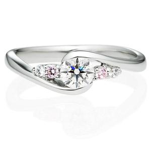 PT950 ミリユー ダイヤモンド ピンクダイヤモンド サイドストーン リング 0.3ct
