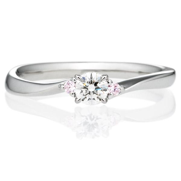 PT900 メモワール ダイヤモンド ピンクダイヤモンド サイドストーン リング 0.2ct