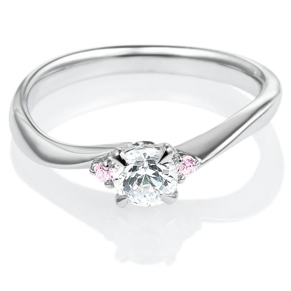 PT900 メモワール ダイヤモンド ピンクダイヤモンド サイドストーン リング 0.3ct