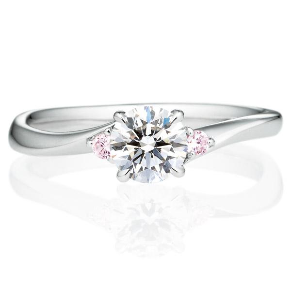 PT900 メモワール ダイヤモンド ピンクダイヤモンド サイドストーン リング 0.5ct