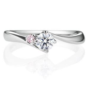 PT900 アルタイル ダイヤモンド ピンクダイヤモンド サイドストーン リング 0.2ct