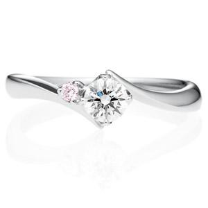 PT900 アルタイル ダイヤモンド ピンクダイヤモンド サイドストーン リング 0.3ct