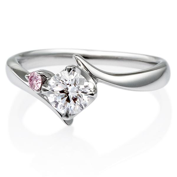PT900 アルタイル ダイヤモンド ピンクダイヤモンド サイドストーン リング 0.5ct