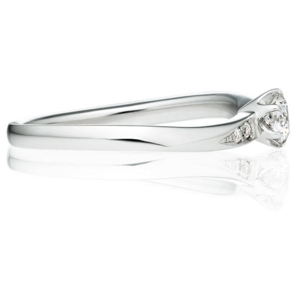 PT900 バルケット ダイヤモンド サイドストーン リング 0.2ct
