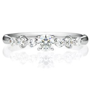 PT900 クリスタル ダイヤモンド サイドストーン リング 0.2ct