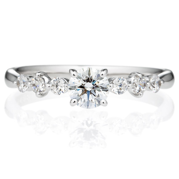 PT900 クリスタル ダイヤモンド サイドストーン リング 0.3ct