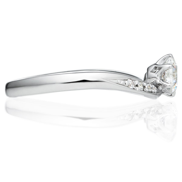 PT900 エメルジェ ダイヤモンド ピンクダイヤモンド サイドストーン リング 0.3ct