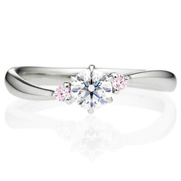 PT900 ワルツ ダイヤモンド ピンクダイヤモンド サイドストーン リング 0.3ct