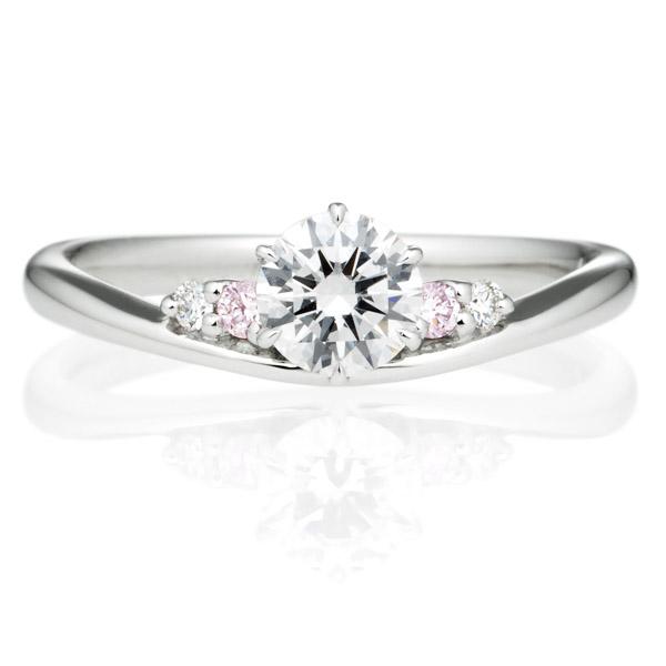 PT900 オーブ ダイヤモンド ピンクダイヤモンド サイドストーン リング 0.3ct