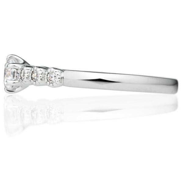 PT900 カノン 6ポイント ダイヤモンド サイドストーン リング ミルグレイン 0.2ct