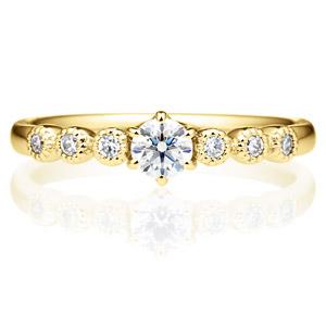 K18YG カノン 6ポイント ダイヤモンド サイドストーン リング ミルグレイン 0.2ct