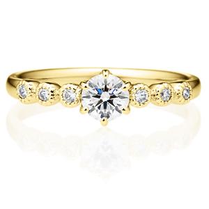 K18YG カノン 6ポイント ダイヤモンド サイドストーン リング ミルグレイン 0.3ct