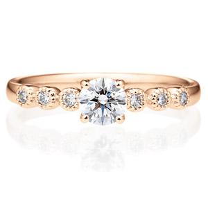 K18PG カノン 4ポイント ダイヤモンド サイドストーン リング ミルグレイン 0.3ct