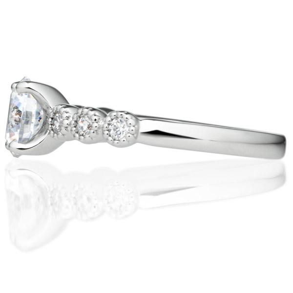 PT900 カノン 4ポイント ダイヤモンド サイドストーン リング ミルグレイン 1.0ct