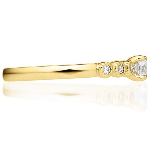 K18YG カノン 4ポイント ダイヤモンド サイドストーン リング ミルグレイン 0.2ct