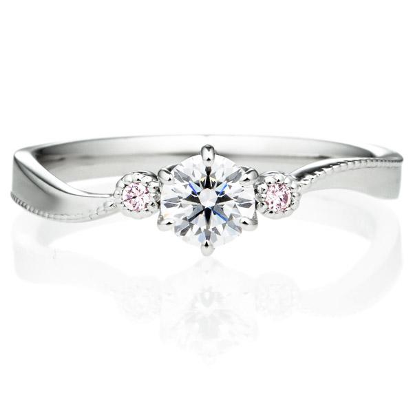 PT900 ラフィネ 6ポイント ダイヤモンド ピンクダイヤモンド サイドストーン リング ミルグレイン 0.3ct