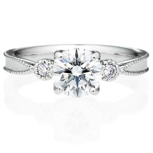 PT950 ファイン 4ポイント ダイヤモンド サイドストーン リング ミルグレイン 1.0ct