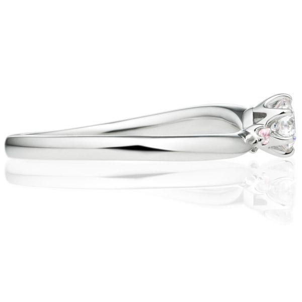 PT950 アルシェ クレール ソロ ダイヤモンド ピンクダイヤモンド サイドストーン リング 0.2ct