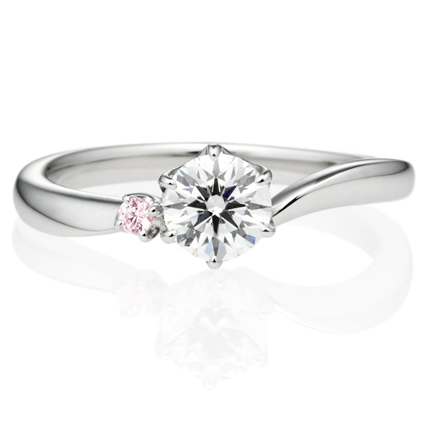 K18WG アルシェ クレール ソロ ダイヤモンド ピンクダイヤモンド サイドストーン リング 0.5ct