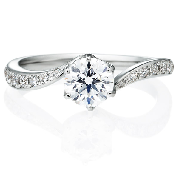 K18WG アルシェ クレール ダイヤモンド リング エングレーブ 0.7ct