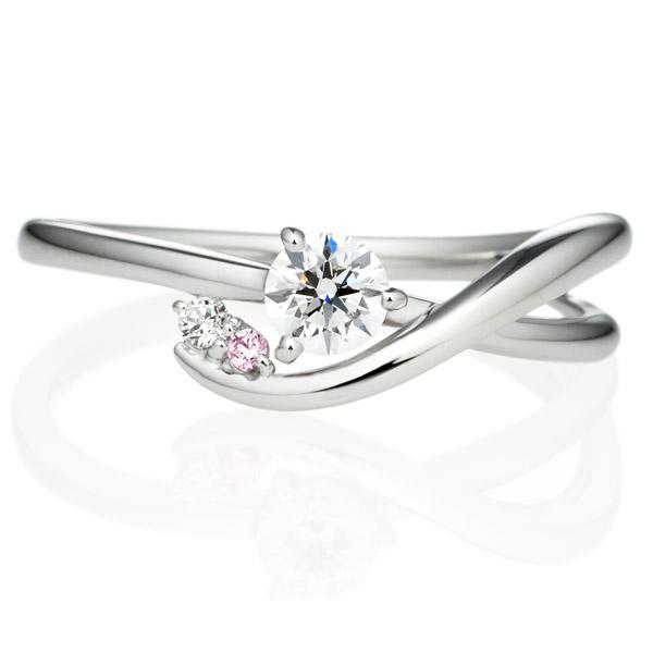 PT900 クレ・ド・ソル ダイヤモンド ピンクダイヤモンド サイドストーン リング 0.2ct