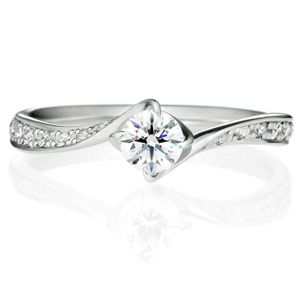 K18WG クチュリエ ダイヤモンド リング エングレーブ 0.3ct