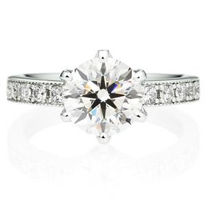PT950 アベニュー 6ポイントセッティング  ダイヤモンド エタニティタイプ リング ミルグレイン 2.0ct