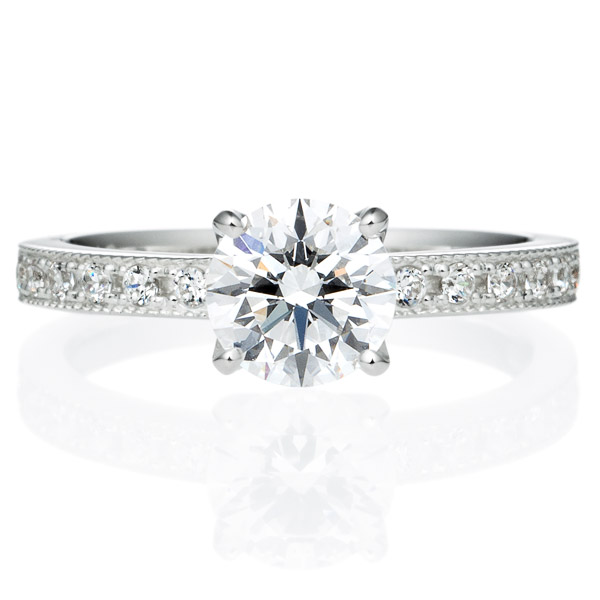 PT950 アベニュー 4ポイントセッティング ダイヤモンド エタニティタイプ リング ミルグレイン 1.0ct
