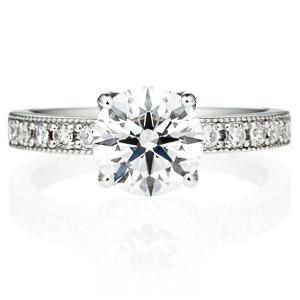 PT950 アベニュー 4ポイントセッティング ダイヤモンド エタニティタイプ リング ミルグレイン 1.5ct