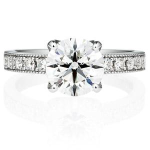 PT950 アベニュー 4ポイントセッティング ダイヤモンド エタニティタイプ リング ミルグレイン 2.0ct