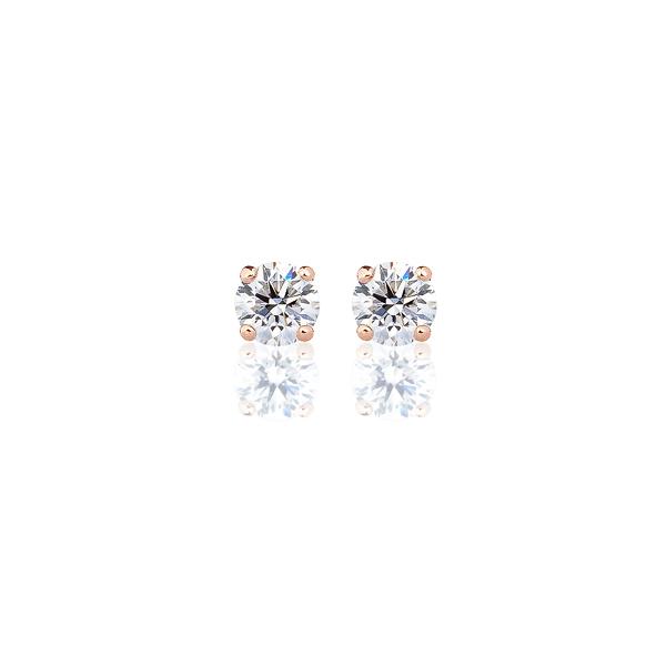 K18PG ダイヤモンド 4本爪 スタッドピアス for 0.3ct アイコニック