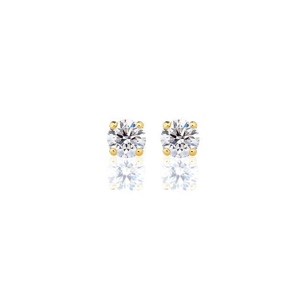K18YG ダイヤモンド 4本爪 スタッドピアス for 0.3ct アイコニック