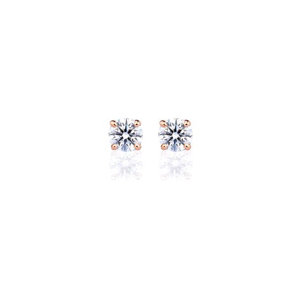 K18PG ダイヤモンド 4本爪 スタッドピアス for 0.2ct アイコニック