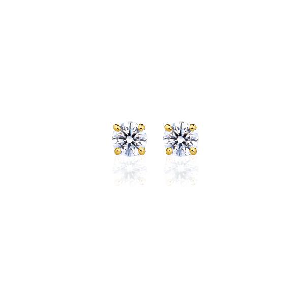 K18YG ダイヤモンド 4本爪 スタッドピアス for 0.2ct アイコニック
