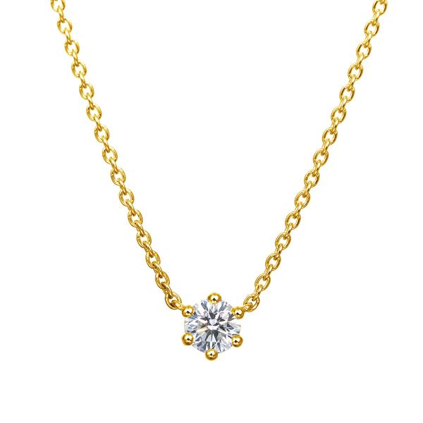 K18YG 0.15ct ダイヤモンド 6ポイント ネックレス アイコニック