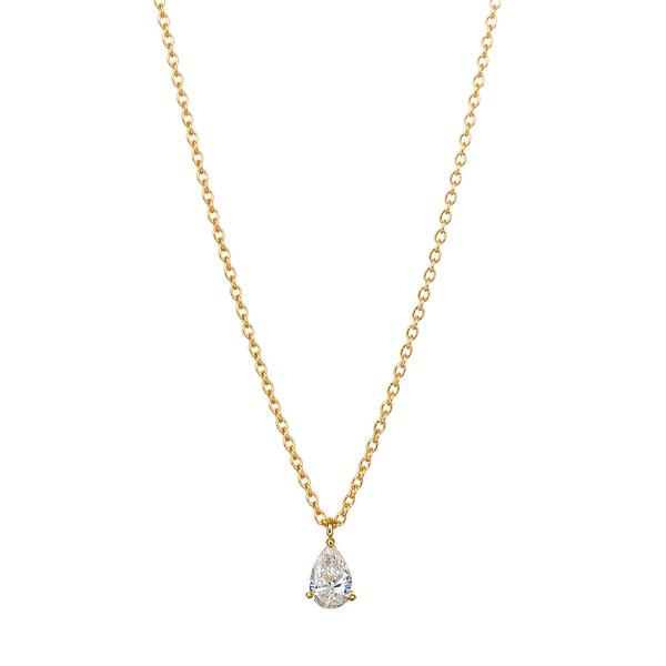 K18YG ペアーシェイプ ブリリアントカット ダイヤモンド ネックレス
